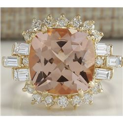 7.23 CTW Natural Morganite And Diamond Ring 18K Solid Yellow Gold