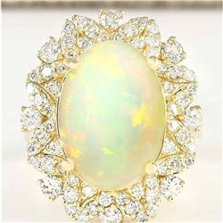7.68 CTW Natural Opal And Diamond Ring In 14k Yellow Gold