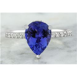2.95 CTW Tanzanite 18K White Gold Diamond Ring
