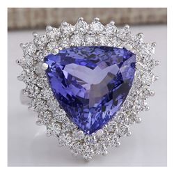 13.62 CTW Natural Blue Tanzanite And Diamond Ring In 14K White Gold Aaa