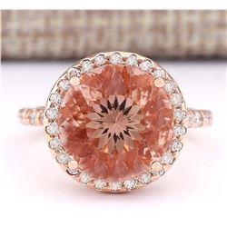 6.80 CTW Natural Morganite And Diamond Ring In 18K Rose Gold