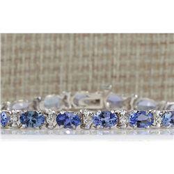 8.74 CTW Natural Blue Tanzanite Bracelet In 18K White Gold
