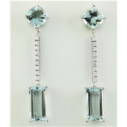 15.40 CTW Aquamarine 18K White Gold Diamond Errings