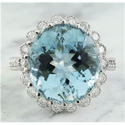11.87 CTW Aquamarine 18K White Gold Diamond Ring