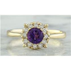 0.72 CTW Amethyst 18K Yellow Gold Diamond Ring