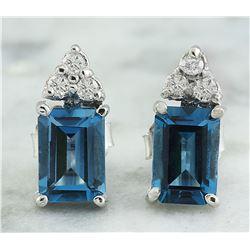 2.65 CTW Topaz 14K White Gold Diamond Earrings