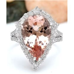 7.49 CTW Natural Morganite 18K Solid White Gold Diamond Ring