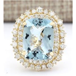 9.43 CTW Natural Blue Aquamarine And Diamond Ring In 18K Yellow Gold