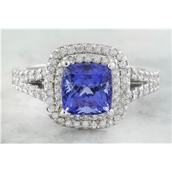 2.45 CTW Tanzanite 18K White Diamond Ring