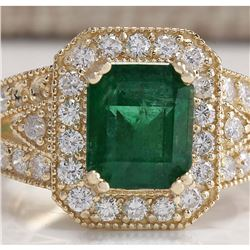 3.96 CTW Natural Emerald And Diamond Ring 18K Solid Yellow Gold