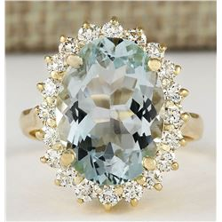 6.15 CTW Natural Blue Aquamarine And Diamond Ring In 18K Yellow Gold