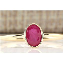 0.60 CTW Natural Ruby And Diamond Ring In 18K Yellow Gold