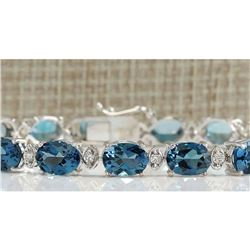 26.60 CTW Natural Topaz And Dimond Bracelet In 14k Solid White Gold