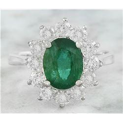 3.23 CTW Emerald 18K White Gold Diamond Ring