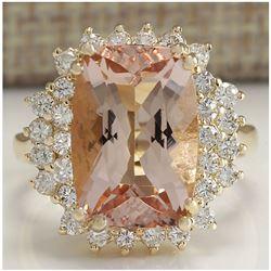 7.00 CTW Natural Morganite And Diamond Ring 14K Solid Yellow Gold