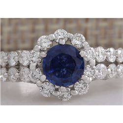 2.28CTW Natural Blue Sapphire Diamond Ring 18K Solid White Gold
