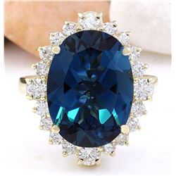 12.03 CTW Natural Topaz 14K Solid Yellow Gold Diamond Ring