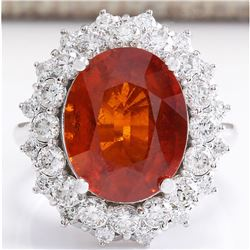 12.03 CTW Natural Mandarin Garnet And Diamond Ring 18K Solid White Gold