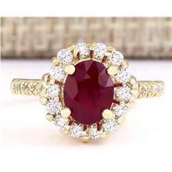 2.96 CTW Natural Ruby And Diamond Ring In 18K Yellow Gold
