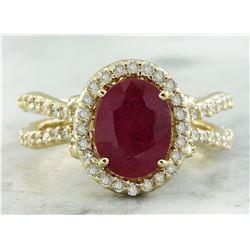 3.04 CTW Ruby 18K Yellow Gold Diamond Ring