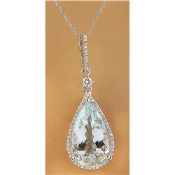 6.57 CTW Aquamarine 18K White Gold Diamond Necklace