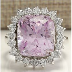 16.95 CTW Natural Kunzite And Diamond Ring 14K Solid White Gold