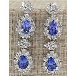 3.16 CTW Natural Blue Tanzanite And Diamond Earrings In 18K White Gold