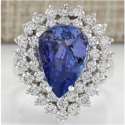 5.75 CTW Natural Tanzanite And Diamond Ring In 14K White Gold