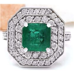 4.32 CTW Natural Emerald 18K Solid White Gold Diamond Ring