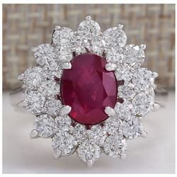 3.79 CTW Natural Ruby And Diamond Ring 18K Solid White Gold