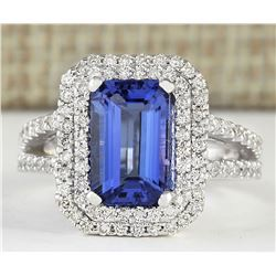 5.23 CTW Natural Blue Tanzanite And Diamond Ring 14k Solid White Gold