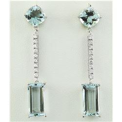 15.40 CTW Aquamarine 14K White Gold Diamond Errings