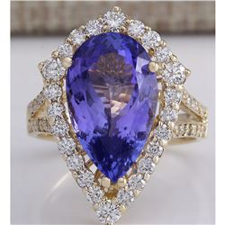 8.16 CTW Natural Blue Tanzanite And Diamond Ring 18K Solid Yellow Gold