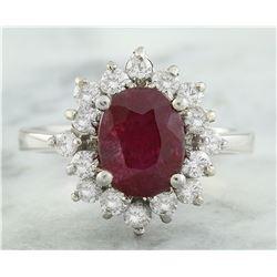 3.50 CTW Ruby 18K White Gold Diamond Ring