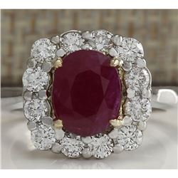 3.47 CTW Natural Ruby And Diamond Ring 18K Solid White Gold