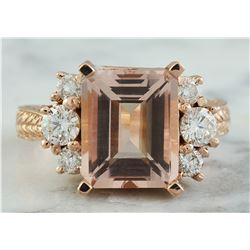 5.30 CTW Morganite 18K Rose Gold Diamond Ring