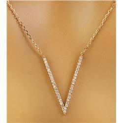 """0.40 CTW Diamond 14K Rose Gold """"V"""" Necklace"""