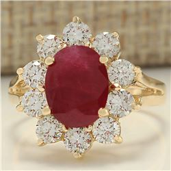 3.55 CTW Natural Ruby And Diamond Ring In 18K Yellow Gold