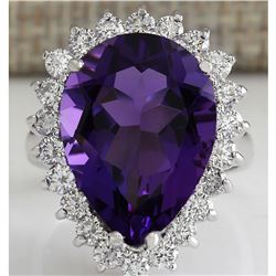 10.80 CTW Natural Amethyst And Diamond Ring In 14K Solid White Gold
