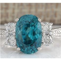 7.07 CTW Natural Blue Zircon And Diamond Ring 18K Solid White Gold