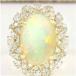 7.68 CTW Natural Opal And Diamond Ring In 18K Yellow Gold
