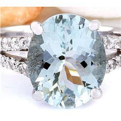 8.96 CTW Natural Aquamarine 18K Solid White Gold Diamond Ring