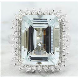 10.77 CTW Aquamarine 18K White Gold Diamond Ring
