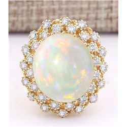 11.29 CTW Natural Opal And Diamond Ring In 18K Yellow Gold
