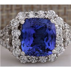 4.89 CTW Natural Blue Tanzanite And Diamond Ring In 18K Solid White Gold