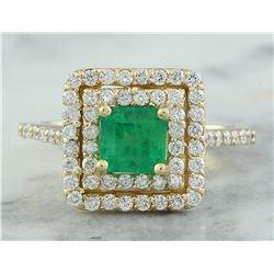 1.55 CTW Emerald 14K Yellow Gold Diamond Ring