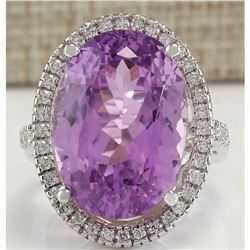 26.68 CTW Natural Kunzite And Diamond Ring 14K Solid White Gold