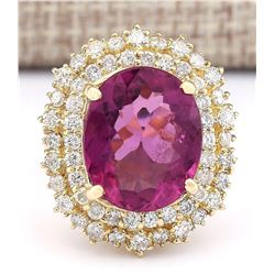 9.60 CTW Natural Pink Tourmaline And Diamond Ring 18K Solid Yellow Gold