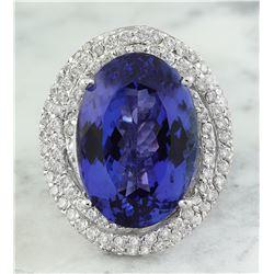 22.22 CTW Tanzanite 18K White Gold Diamond Ring