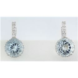 5.10 CTW Aquamarine 18K White Gold Diamond Earrings